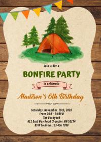 Campfire s'more bonfire invitation A6 template