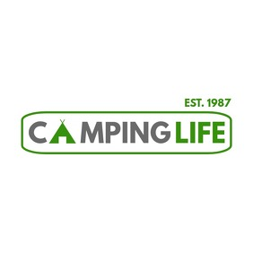 camping accessories logo design template
