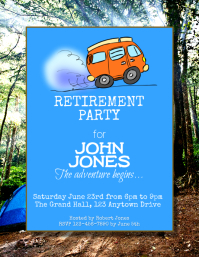 camping retirement party flyer
