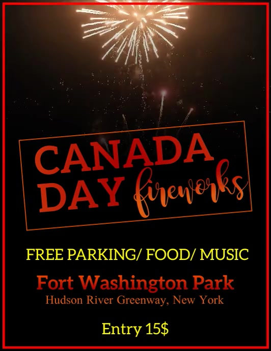 Canada Day, Fireworks ใบปลิว (US Letter) template