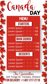 Canada Day, Menu Цифровой дисплей (9 : 16) template