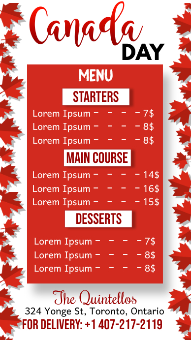 Canada Day, Menu Digitale display (9:16) template