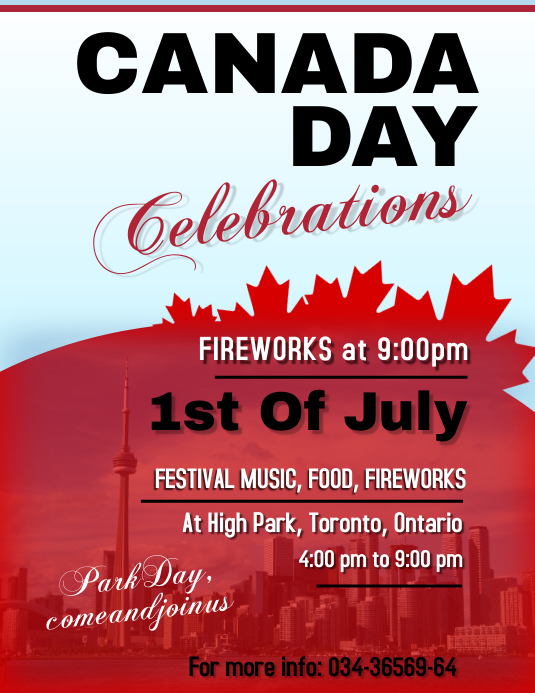 Canada Day Flyer Template Folheto (US Letter)