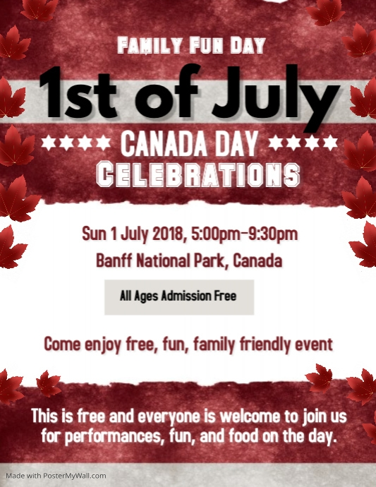 Canada Day Flyer Template Postermywall