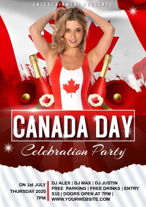 Canada day video A4 template