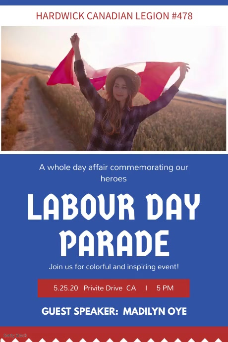 Canada Labour Day Parade Invitation Video Poster template