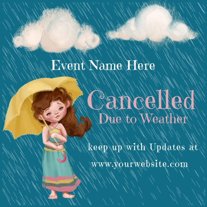 Cancelled Due to Weather Announcement โพสต์บน Instagram template