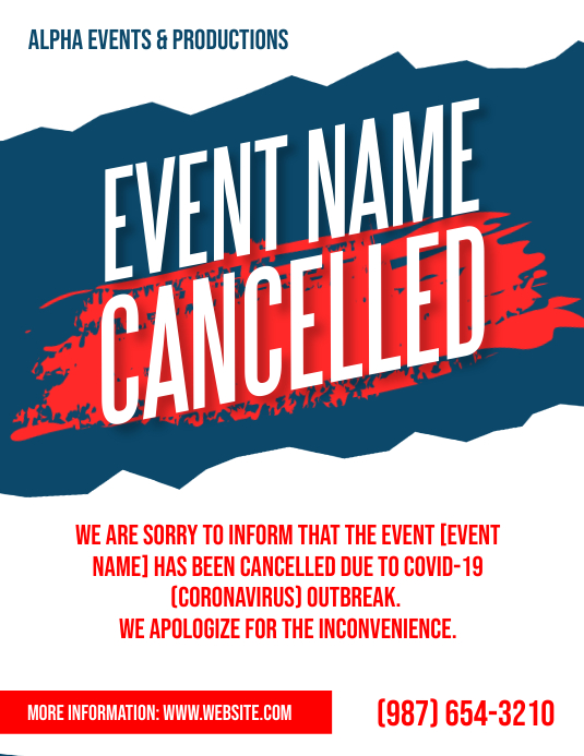 Cancelled Event Notice poster flyer ใบปลิว (US Letter) template