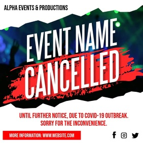 Cancelled Event Notice Social Media Post Ad