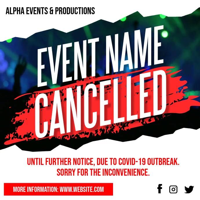 Cancelled Event Notice Social Media Post Ad โพสต์บน Instagram template