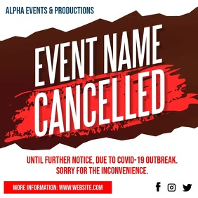 Cancelled Event Notice Social Media video Instagram 帖子 template