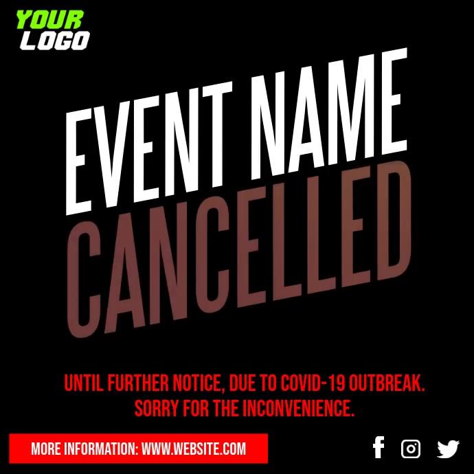 Cancelled Event Notice Social Media video โพสต์บน Instagram template