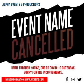 Cancelled Event Notice Social Media video Instagram Post template