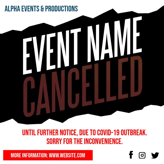 Cancelled Event Notice Social Media video Instagram-bericht template