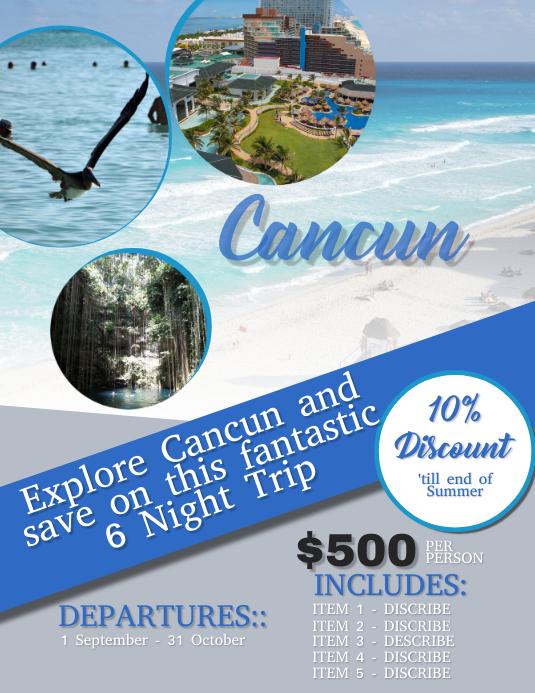 Cancun Travel / Tour Flyer Template