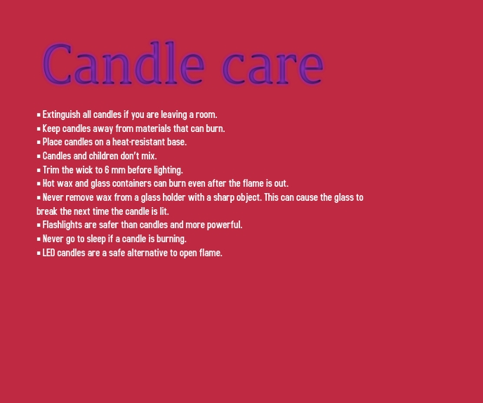 Candle Care Malaking Rektangle template