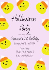 Candy Corn Halloween Birthday Invitat A4 template