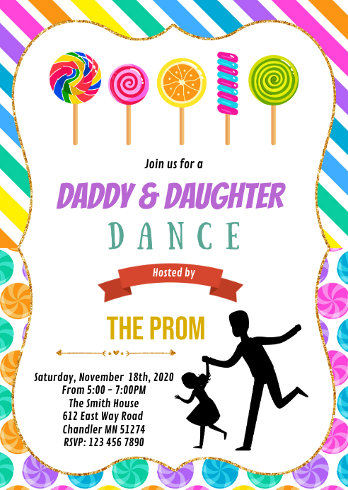 Candy daddy and daughter dance INVITE
