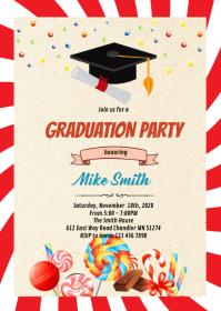 Candy graduation invite A6 template