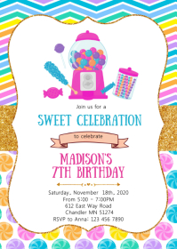 Candy land birthday party invitation
