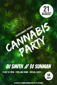 Cannabis party event flyer template