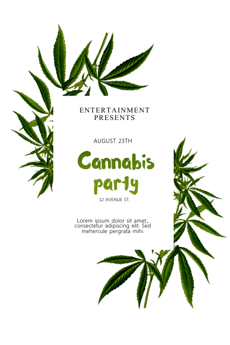 Cannabis Party Flyer Template Plakkaat