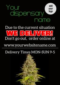 Cannabis Pharmacy delivery dispensary flyer A4 template