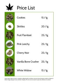 Cannabis Pharmacy dispensary price list A4 template