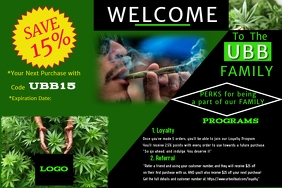 Cannabis Post card Этикетка template