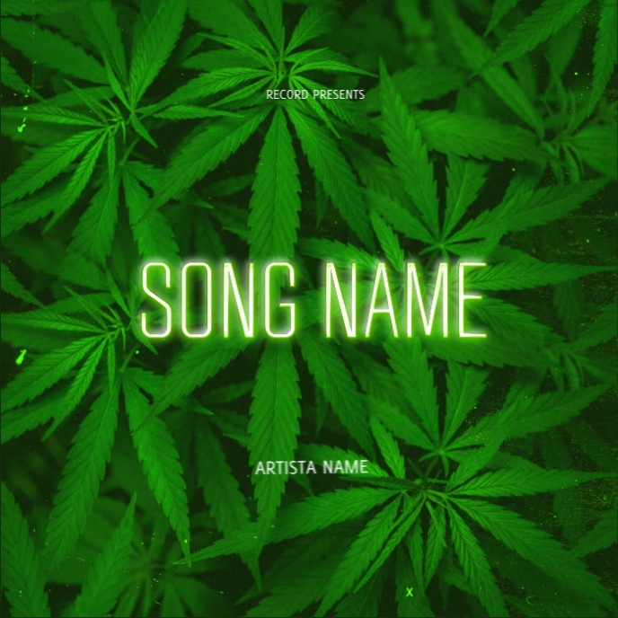 cannabis weed leaves album cover template Albumcover