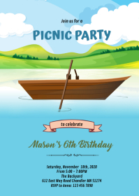 Canoe lake birthday party invitation A6 template