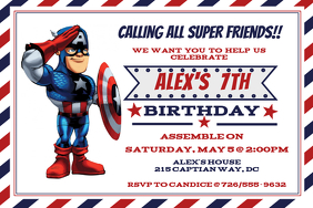 Captian America Birthday Inviataion