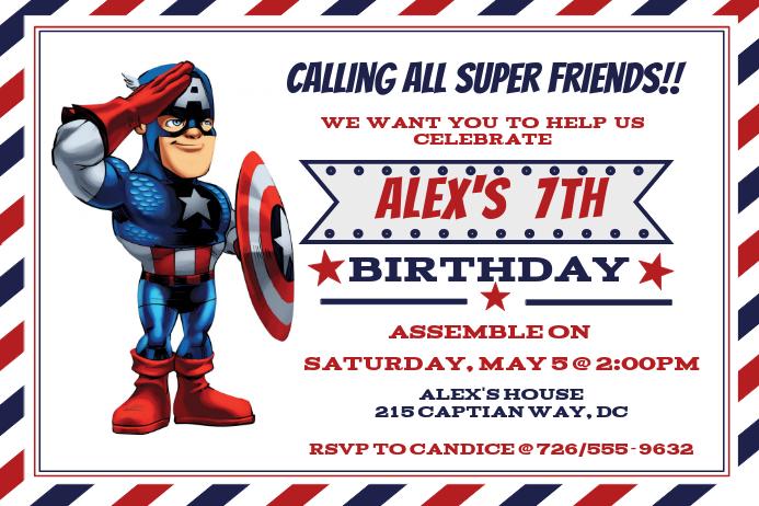 Captian America Birthday Inviataion