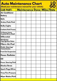 Car Auto Maintenance Chart Template