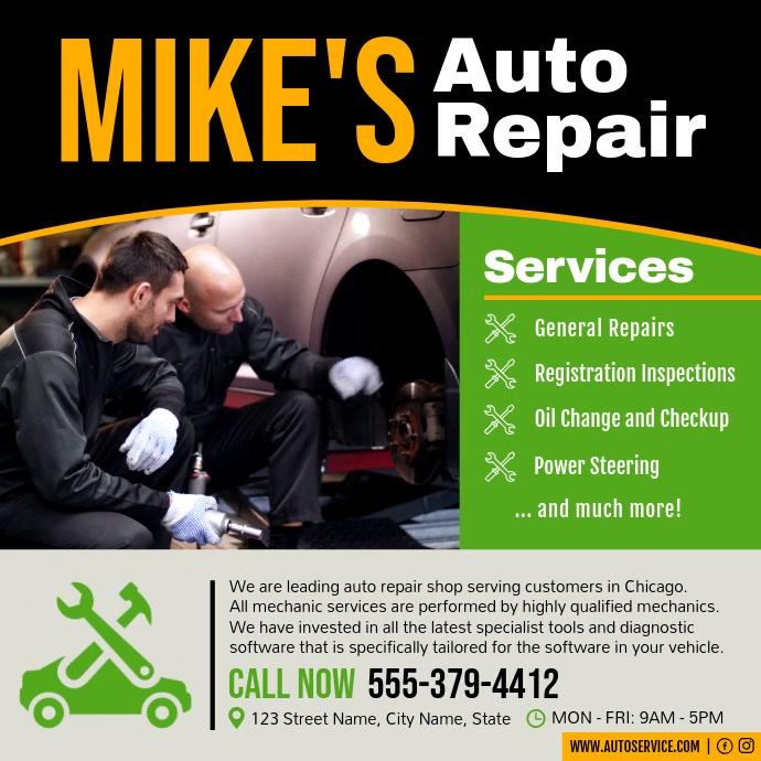 Car Auto Service Business Ad Square Video