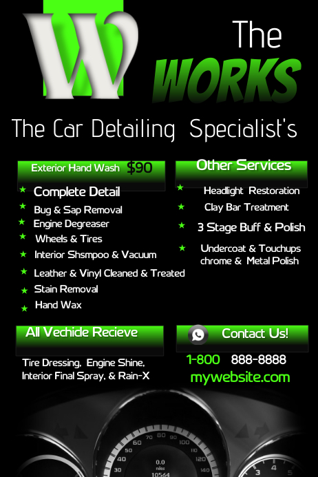 Car detailing template postermywall for Car wash poster template free