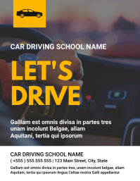 Car driving school name flyer template