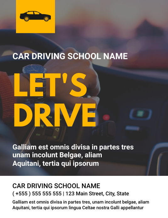 Car driving school name flyer Pamflet (Letter AS) template