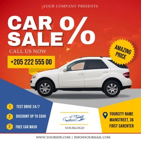 Car for Sale Ad Red Square Video Quadrado (1:1) template