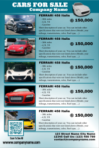Cars for sale poster - Featuring up to 6 auto - Flat design