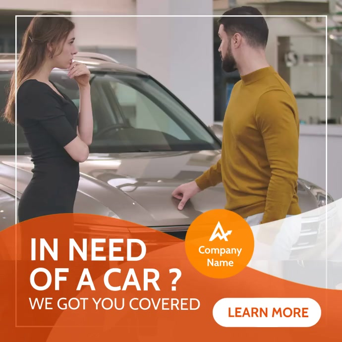 car instagram post white and orange banner Wpis na Instagrama template