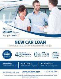 car loan flyer advertisement white and blue c Рекламная листовка (US Letter) template