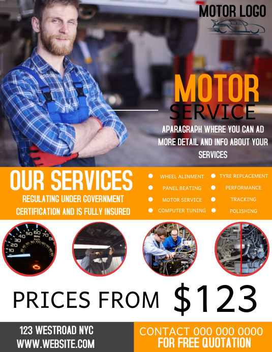 CAR MOTOR MECHANICAL SERVICES FLYER TEMPLATE Folheto (US Letter)