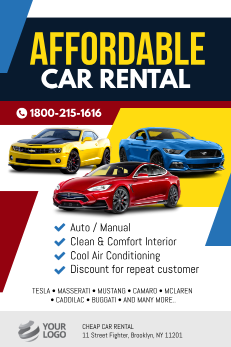 Car Rental Flyer Poster Template