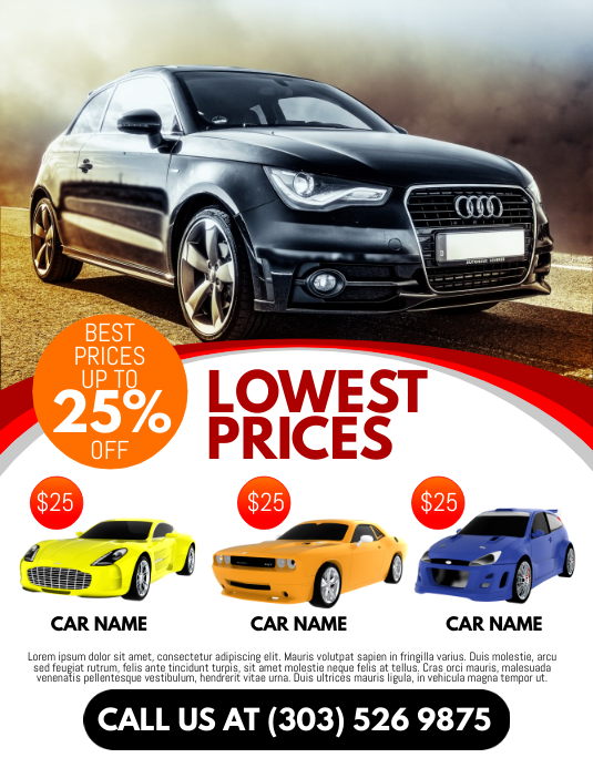 Car Rental Flyer. Customize Template  Car Flyer Template