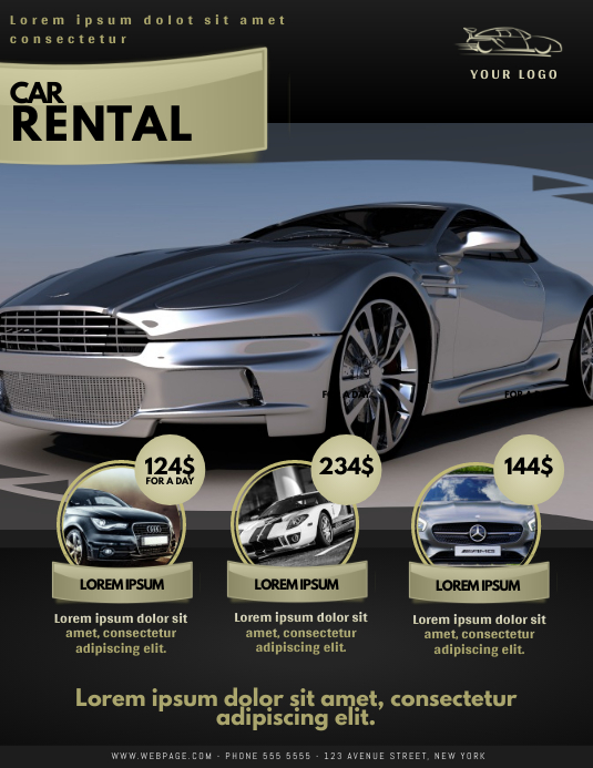 Car rental flyer template