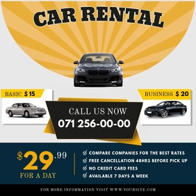 Car Rental Instagram Ad Square Video Quadrado (1:1) template