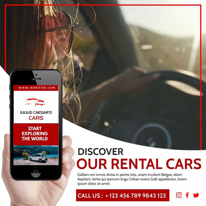 Car rental instagram post video advertisement Wpis na Instagrama template