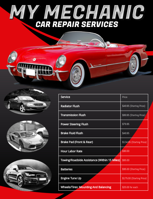 Car Repair Price List Flyer Template