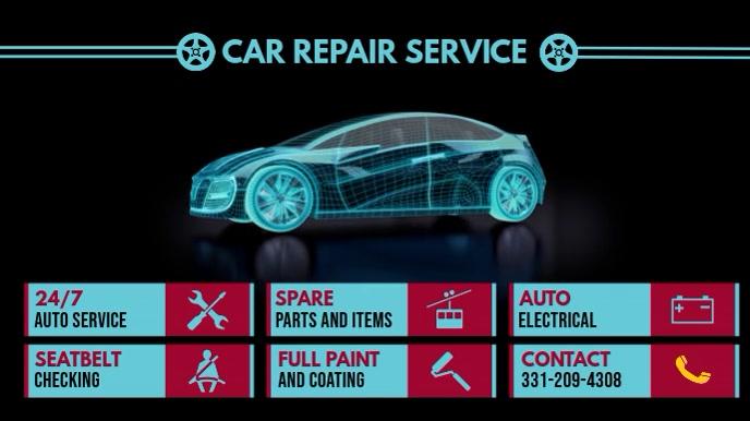 Car Repair Service Digital Menu Цифровой дисплей (16 : 9) template